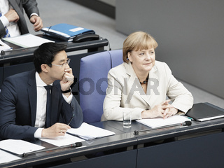 Angela Merkel gives a Government statemen at the German Parlament