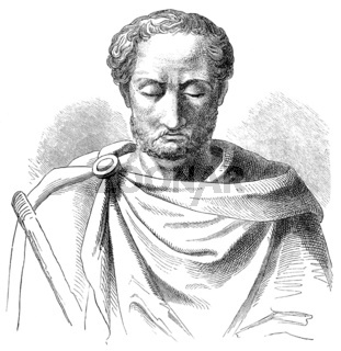Historical drawing from the 19th Century, Portrait of Flavius Be