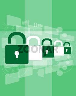 Security concept: padlock set on digital background, 3d