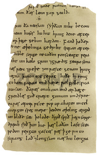 manuscript of Beowulf, an epic heroic poem in Anglo-Saxon allite