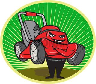Lawn Mower Man Cartoon Oval