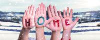 Children Hands Building Word Home, Snowy Winter Background
