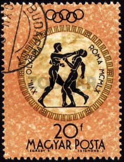 HUNGARY - CIRCA 1960: A post stamp printed in Hungary shows boxing