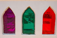 coloured window glass in Stone Town