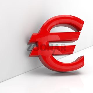 Rotes Euro-Zeichen in 3D