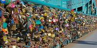 Many love locks on the tumski bridge in Wroclaw