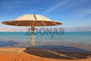 A beach  on the shore of the Dead Sea
