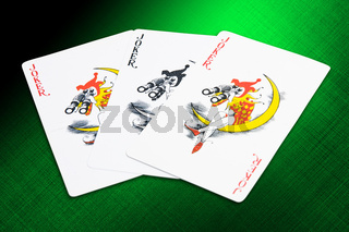 Jokers cards from a deck of playing cards