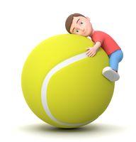 Love Tennis. 3D Cartoon Character Illustration