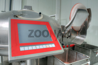 Machinery production of sausages in a factory