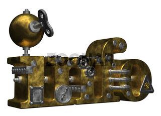 das wort info im steampunk-look - 3d illustration