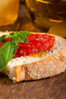 Italian fresh tomato and basil bruschetta