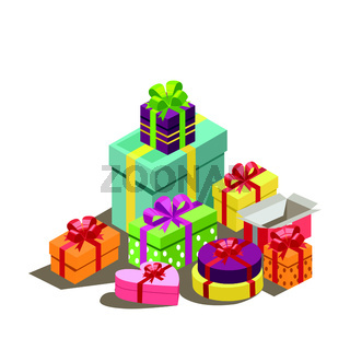 New Year's gifts, a bunch of gifts in bright packaging, bows of silk ribbons on colorful boxes. Christmas surprise geometry, winter sale, web template - Vector