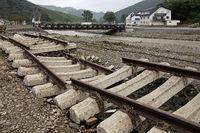 Destroyed train tracks on redwine road, flood disaster 2021, Ahr Valley, Dernau, Germany, Europe