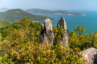 The wondefull view on the tracking path in the Sai Kung East Country Park in Hong Kong