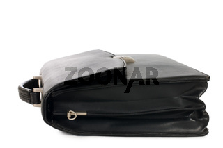 Fashionable leather briefcase on a white