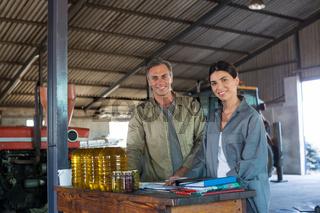 Portrait of smiling worker together