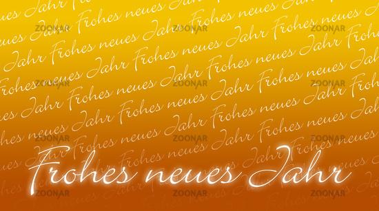 Silvesterkarte - Frohes neues Jahr - gelb orange