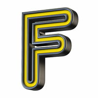 Yellow black outlined font Letter F 3D