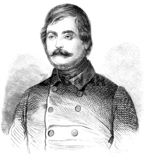 Historical drawing from the 19th century, portrait of Gustav Fre