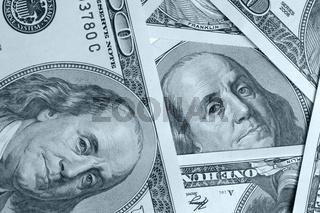 Dollar close up background blue color