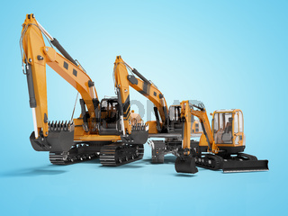 Group of orange excavator 3D rendering on blue background with shadow