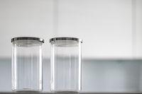 Empty glass jars for food pantry storage