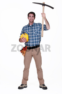 Workman with a pickaxe