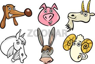 Cartoon farm animals heads set