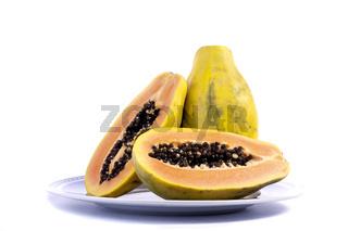 papaya fruit sliced