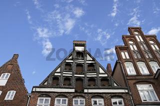 Giebelhaeuser Am Sande in der Altstadt von Lüneburg, Deutschland