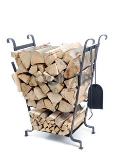 Firewood  stand with chopped logs