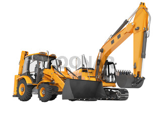 3d rendering orange construction machinery tractor and excavator on white background no shadow
