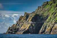 Helipad and shelter houses on the edge of cliff of Skellig Michael island