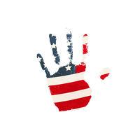 Realistic human palm print with USA flag on white