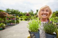 Lächelnde Gärtnerin mit Blumen zum Umtopfen
