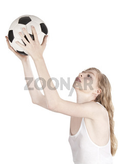 Bright picture of young blonde with soccer ball