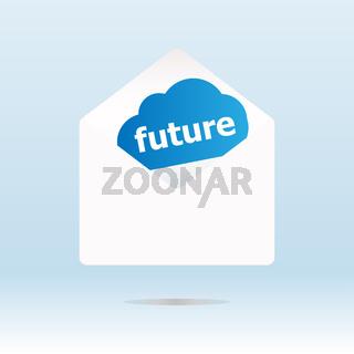 future word on blue cloud on envelope