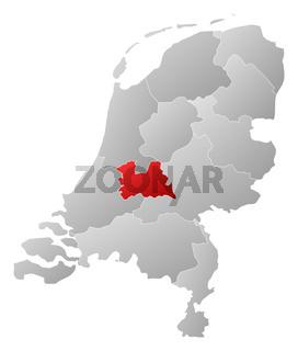 Map of Netherlands, Utrecht highlighted