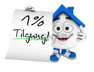 Kleines 3D Haus Blau - 1 Prozent Tilgung