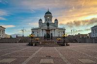 Helsinki Finland, sunrise city skyline at Helsinki Cathedral and Senate Square