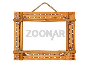 bamboo photo frame isolated on white background
