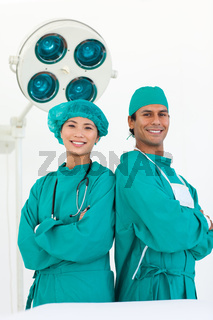 Two doctors wearing surgical gown