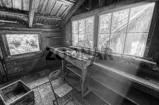 Black and white image of the interior of an abandoned cabin.