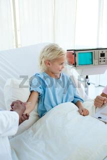 Little girl receiving an injection