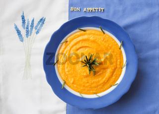 pumpkin soup in a plate