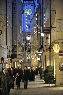 Advent in der Getreidegasse in Salzburg, Austria