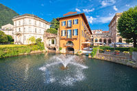 Town of Como fountain and architecture view