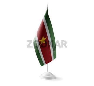 Small national flag of the Suriname on a white background