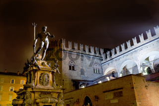 Fountain of Neptune in Bologna at night